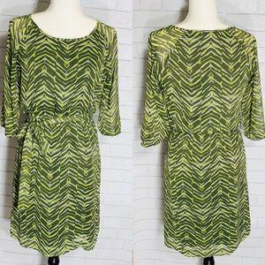 Banana Republic Green & Yellow Zebra print dress